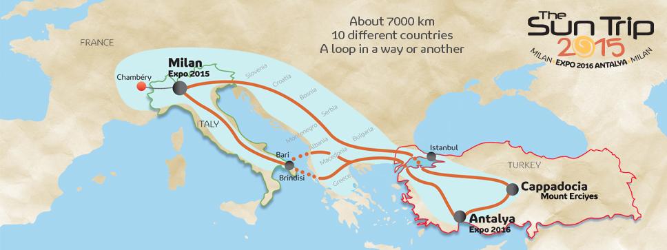 carte itinéraire du sun trip 2015