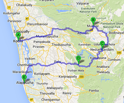 Itinéraire Kerala à vélo