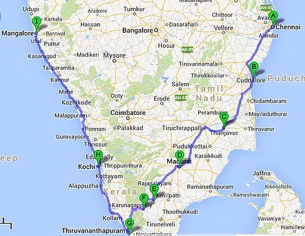 Itinéraire Inde du sud à vélo