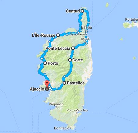 Itinéraire tour de Corse à vélo