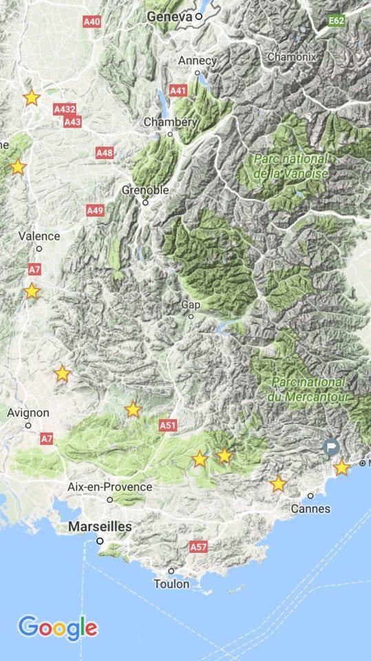 Itinéraire vélo de Lyon à Nice sud-est de la France