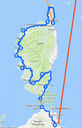 Itinéraire à vélo en Corse