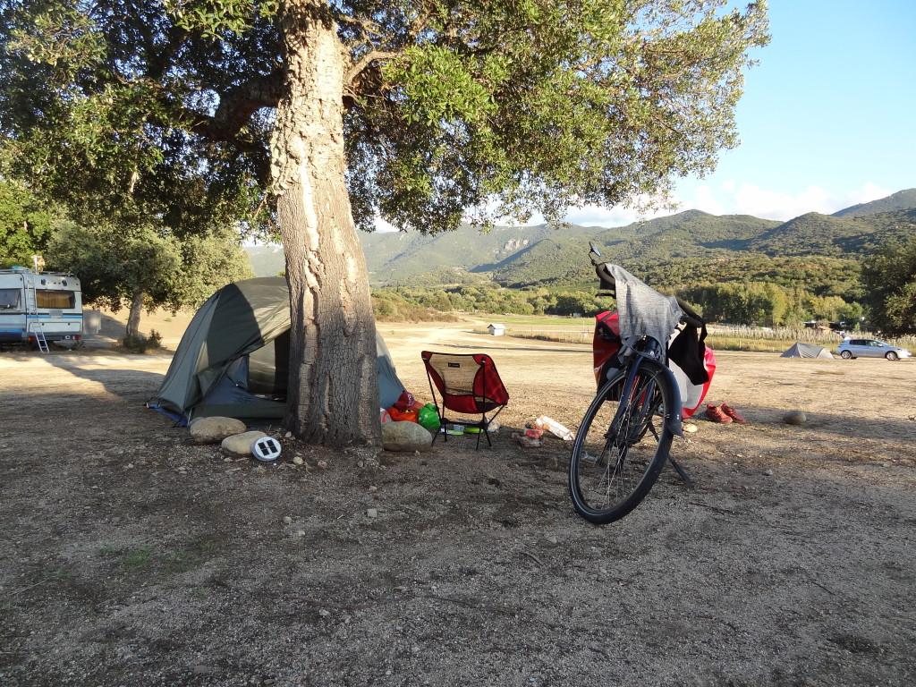 Camping voyage à vélo en Corse