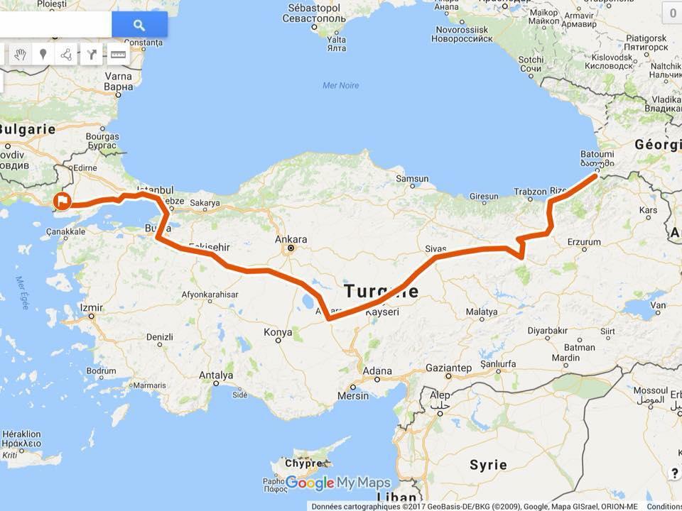itinéraire turquie traversée vélo