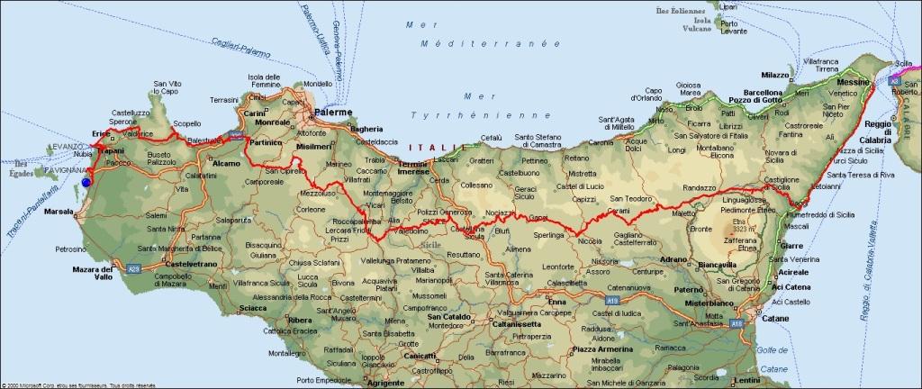 parcours Sicile à vélo