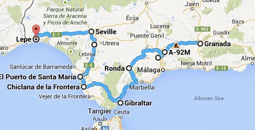 Itinéraire Voyage vélo Andalousie