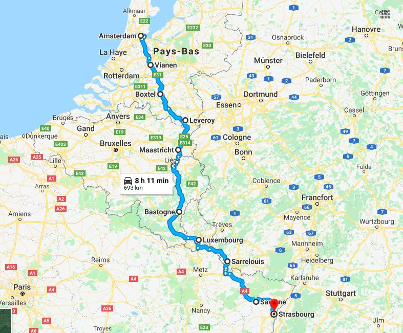 Itinéraire Allemagne Pays Bas Belgique à vélo