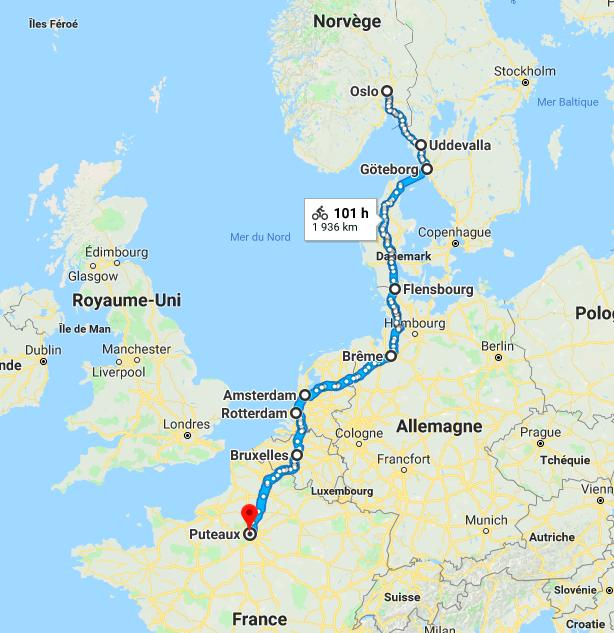 Itinéraire vélo Norvege France