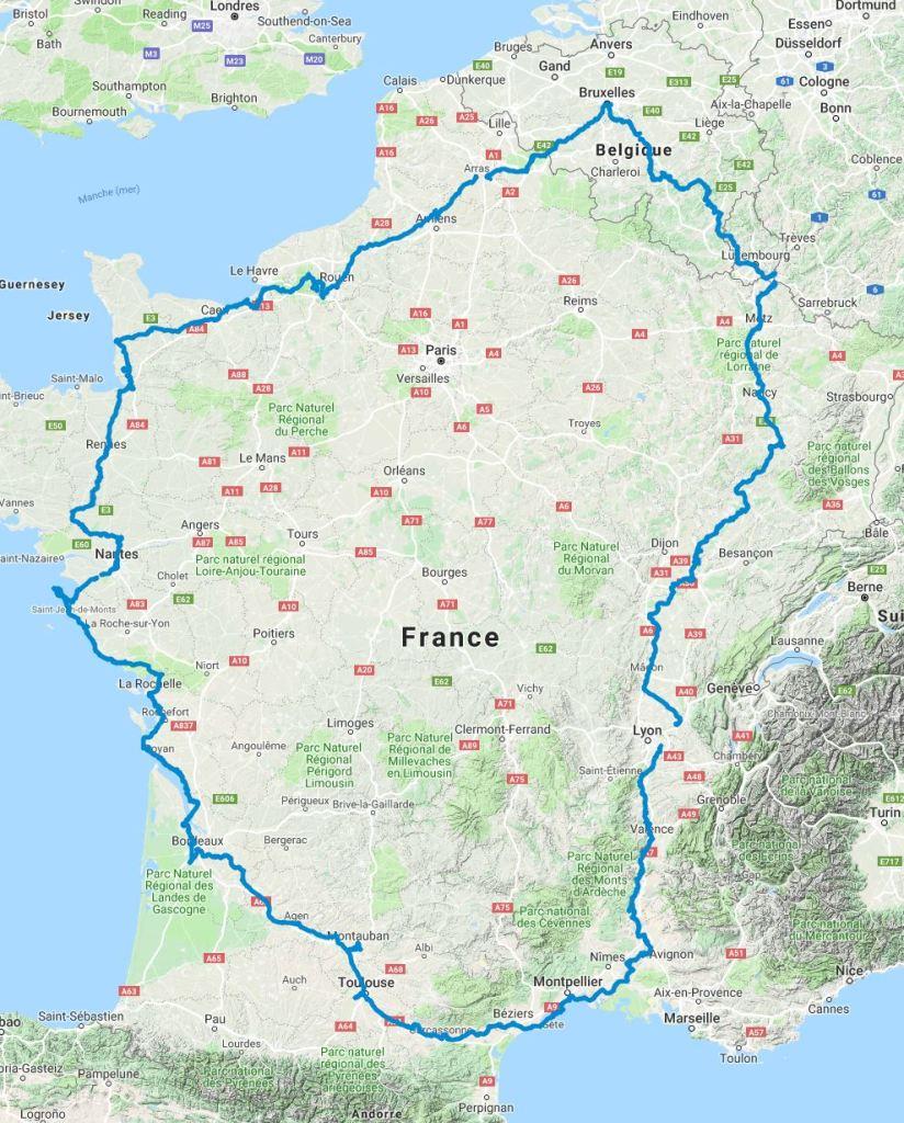 Itinéraire tour de France tandem