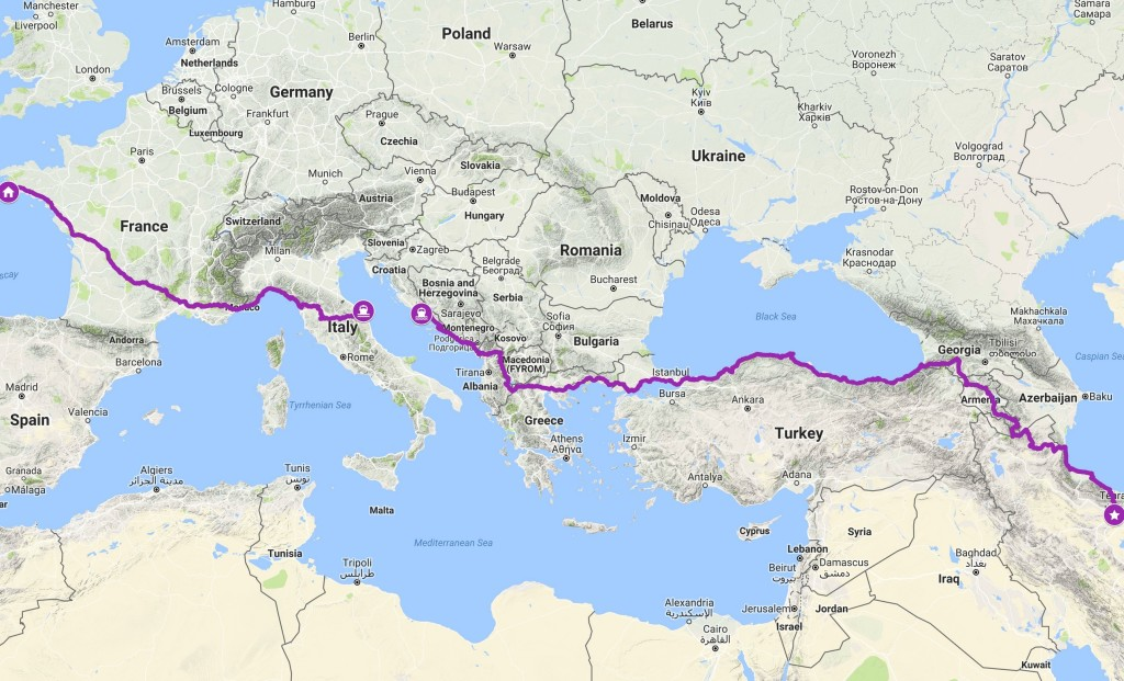 Parcours vélo Europe Asie