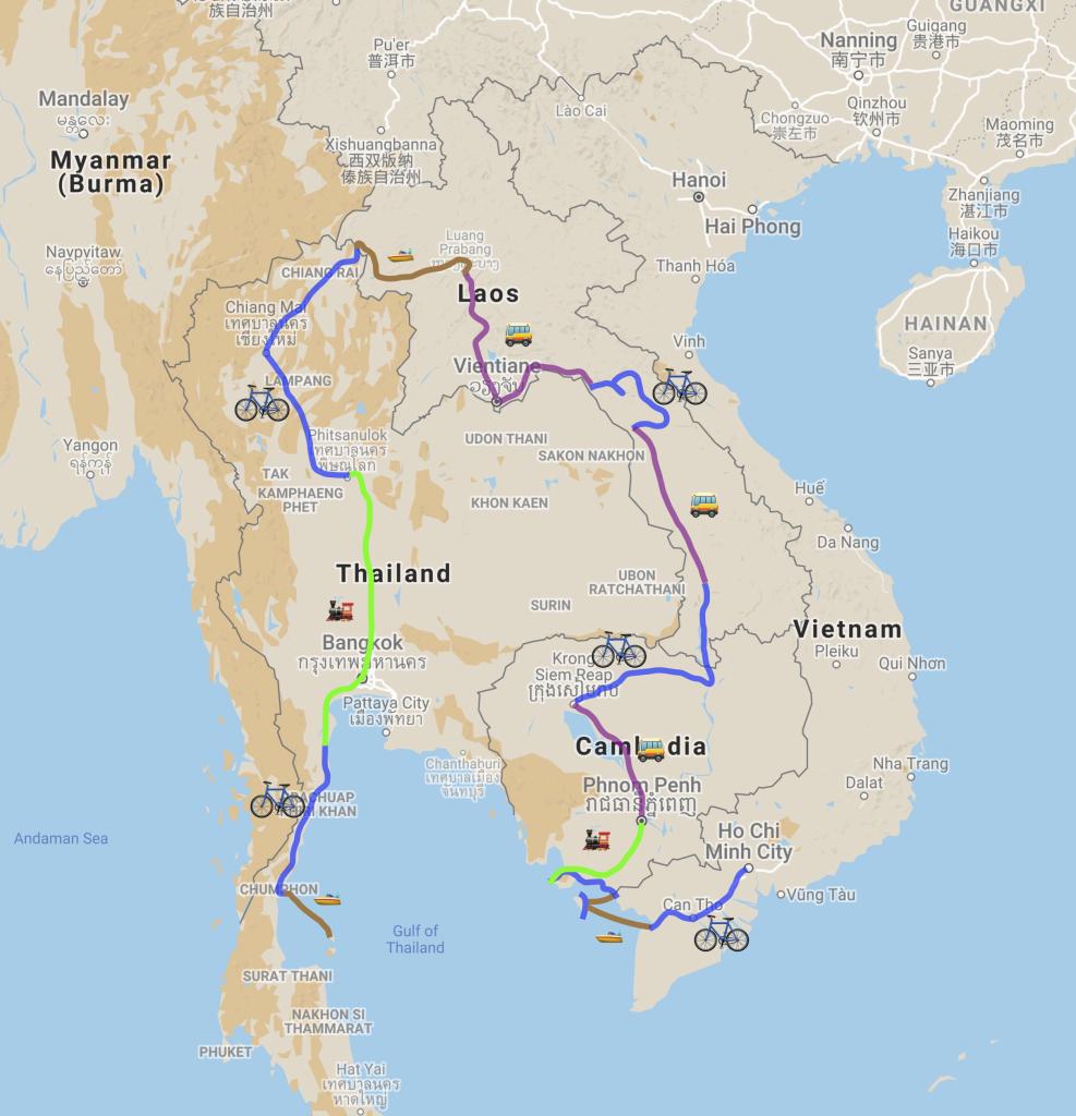 La carte de notre itinéraire en Asie du sud est
